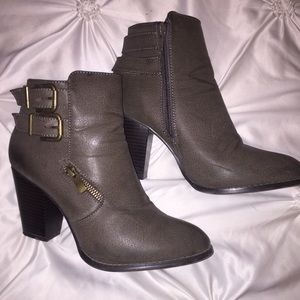 Army green ankle boots